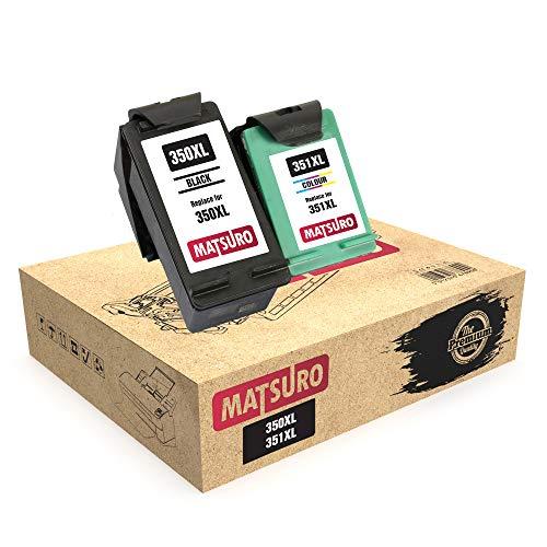 Matsuro Original | Compatible Remanufactured Cartuchos de Tinta Reemplazo para HP 350XL 351XL 350 351 (1 Set)