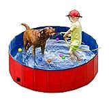 Taeku Piscine pour Chien Pliable Baignoire Portable Douche Bassin Baignade Pataugeoire pour Grand et Petite Animal Enfant Extérieur ou Intérieur (Rouge 80 * 30)