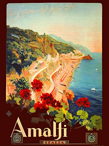 A SLICE IN TIME 1927 Amalfi Coast Italy Italian Art Travel Vintage Advertisement Wall Decor Collectible Poster Print. Measures 10 x 13.5 inches