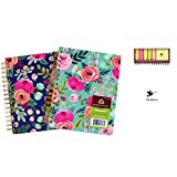 Bundle of 2 Greenroom Hard Cover Spiral Lined Journals and Pocket Jotter With Stickies Never miss out on a great idea again Notebook format: Ruled Number of pages: 320 golden binder rings looks stunning with all your stationery, writing has never bee...
