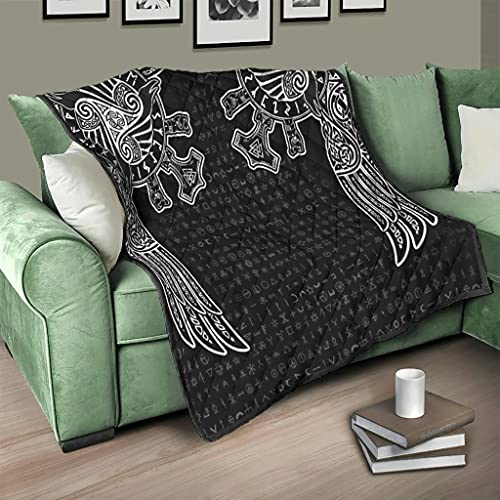 Flowerhome Colcha vikinga con runas runas y cuervos vikingos, manta para sofá, cama, cama, cama, color blanco, 173 x 203 cm