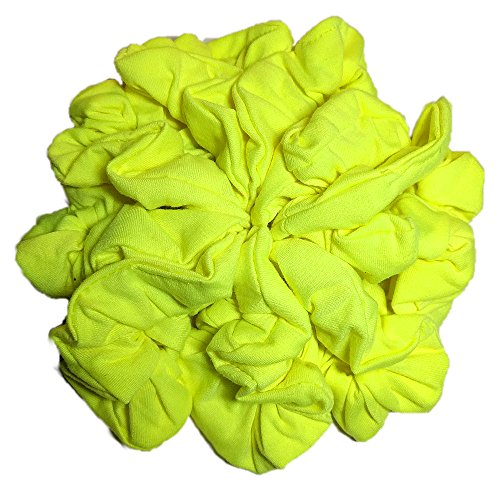 Neon Scrunchies, Set of 10 Soft Cotton Scrunchies, Neon Yellow