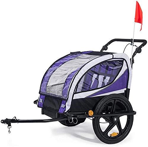 Kinderfahrradanhänger 2 in einem Jogger für Kinder, Kinderfahrräder drehbare Anhänger Transport Buggys,Purple