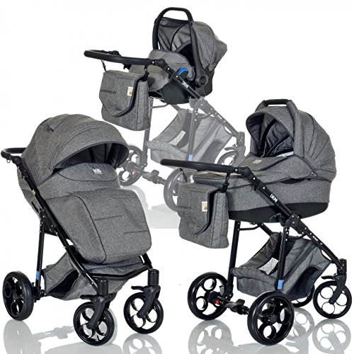 LCP Kids 3-in-1 Kombi-Kinderwagen Set ab Geburt - Leichtgängig - Reifen mit Pannenfrei Garantie Grau
