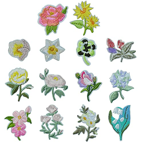 14Pcs Flores Parches Ropa Termoadhesivos Animales de de Planchar Apliques de de Bordado