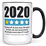 2020 1 Star Review Coffee Mug Funny 2020 Sucks Meme Microwave Dishwasher Safe Double Sided Ceramic Cup
