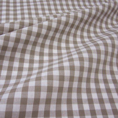 Tissu au mètre bauernkaro taupe taupe voilage imprimé à carreaux style maison de campagne blanc