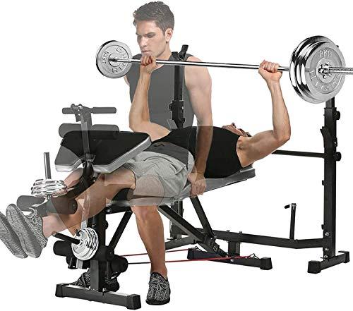 Cnley Banco de pesas de doble mancuerna para el hogar Banco de peso ajustable con el desarrollador de la pierna para el levantamiento de pesas y el entrenamiento de la prensa de los bancos y el soport