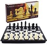 Aoliandatong Juego de ajedrez magnético, negro y blanco, para viajes, plegable, resistente a los arañazos, figuras de ajedrez con suelo de franela, para niños, estudiantes, viajes, 33 x 33 cm