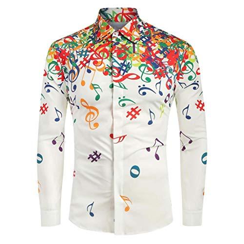 Dasongff Herren Freizeithemd mit Bunt Aufdruck Casual Slim Fit Musikalisches Symbol Drucken Urlaub Langarm Hemd Shirt Button-Down Hawaii Shirt