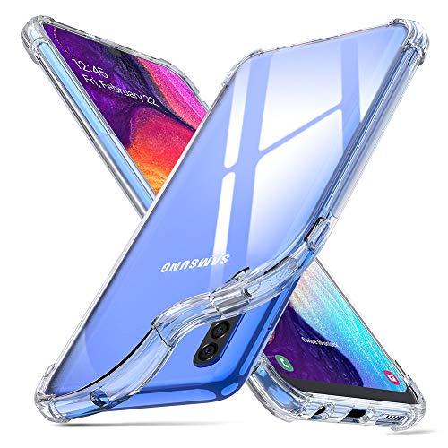 ORNARTO Hülle für Samsung A50, Transparent Soft TPU Silikon Handyhülle Vier Ecke Kante Stoßdämpfung Design Kratzfest Durchsichtige Schutzhülle für Samsung Galaxy A50(2019) 6,4 Zoll Klar