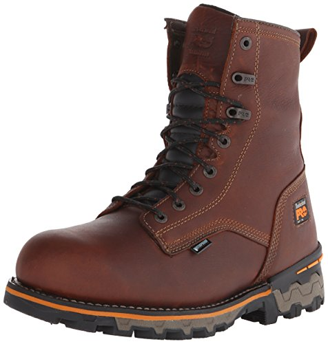 Timberland PRO Men's 8 Inch Boondock Soft Toe Waterproof Work and Hunt Boot, Brown Tumbled Leather, 10.5 M US