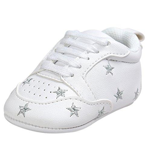 Fossen Recién nacido Bebe Zapatos Cuero artificial Zapatillas con Bordado Pentagram Suela Blanda Antideslizante Primeros pasos Para Bebé Niñas Niño (0-6 meses, Plateado)