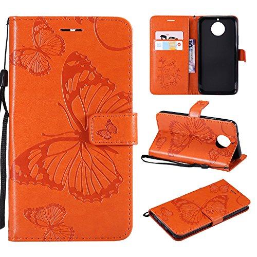 Leder Wallet Case für Moto G5S Plus Flip Case Schutzhülle Stoßfest Cover mit Magnetverschluss Standfunktion Kartenfächer für Motorola Moto G5S Plus - JEKT041714 Orange