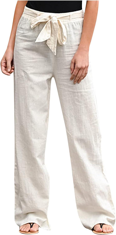 Women's Linen Pants Casual Tightness Trouser Pants Elastic Waist Plus Size Pants with Pockets