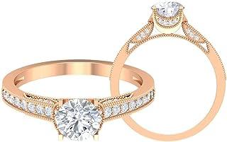 D-VSSI - Anello da sposa con solitario in moissanite da 1,07 ct, stile art deco, anello da donna, anello con pietre latera...
