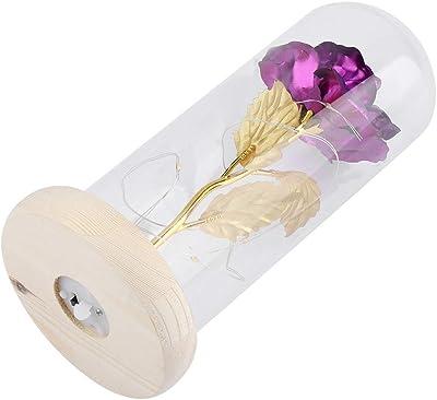 Duokon Luce a LED Fiore Rosa conservata con Coperchio in Vetro e Base in Legno Anniversario di Compleanno di Natale con Regalo di Nozze(Violet)
