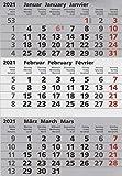 HiCuCo Kalenderblock/Kalendarium - magnetisch - für 2 Jahre (2021 und 2022) - passend für 3-Monats-Tischkalender Edelstahl TypA