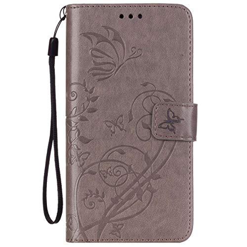 ISAKEN Huawei G8 Hülle, PU Leder Brieftasche Wallet Hülle Cover Ledertasche Handyhülle Tasche Schutzhülle mit Handschlaufe Standfunktion für Huawei G8 / Huawei GX8 - Blume Schmetterling Grau