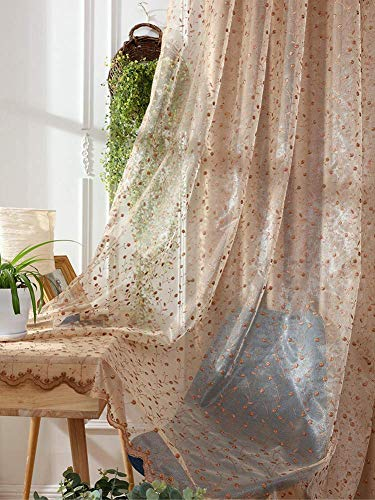 HooHero Luxurious Sheer Tulle Window Treatment Curtains Rod Pocket Top Rural Floral Embroidery Gauze Curtain Drapes for Living Dining Dining Room(1 Panel, W 50 x L 84 inch, Brown)