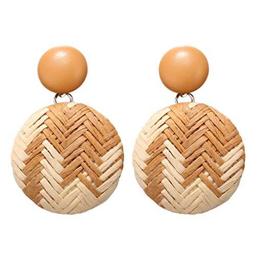 YWLINK Pendientes Redondos GeoméTricos De Mimbre De Bambú De Madera De Estilo Bohemio Para Mujer Tejido A Mano Joyas Pendientes De Fiesta Pendientes De Boda