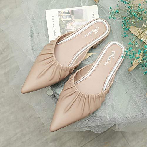 COQUI Zapatillas casa Mujer,Estilo Coreano para Mujer, Medias Zapatillas Puntiagudas, Ropa Exterior de Moda, Zapatillas Casuales, Sandalias de Punta Plegable-Albaricoque_37