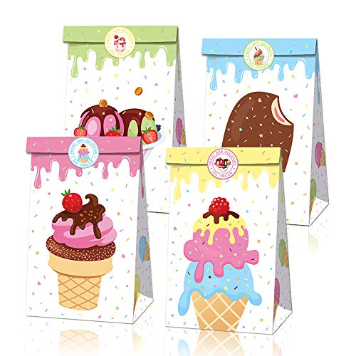 Bolsas de dulces con pegatinas, 12 bolsas de regalo para helado, helado, suministros para fiestas de cumpleaños