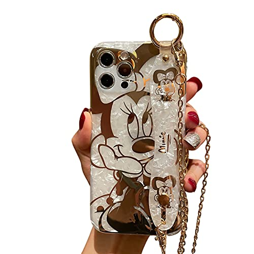 Filaco Cartoon Case for iPhone 13 Pro Max 6.7', Cute Minnie Sparkle Bling Cover with Metal Chain Strap, Wrist Strap Kickstand Soft TPU Shockproof Protective for Women & Girls