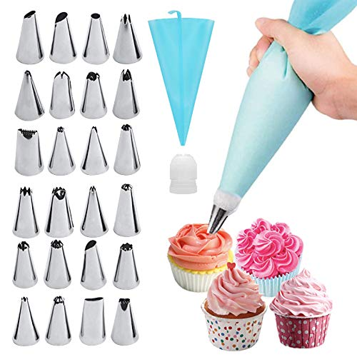26 In 1 Cake Decorating Tools Kits-Pastry Bag And Icing Piping Tips For Cookie And Cupcake, Baking Decorating