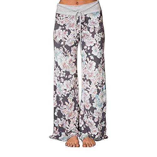 iniber Women's Floral Wide Leg Pajama Pants Casual Yoga Palazzo Drawstring Loose Trousers