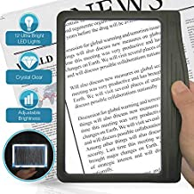 3X Large Ultra Bright LED Page Magnifier with 12 Anti-Glare Dimmable LEDs (Provide More Evenly Lit Viewing Area & Relieve Eye Strain)-Ideal for Reading Small Prints & Low Vision