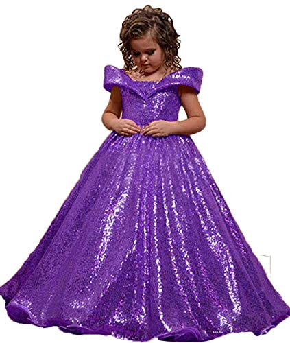 gsunmmw Sequined Off Shoulder Pageant Dresses Toddler Flower Girls Dresses for Wedding Long Kids Party Ball Gown GS159 Purple