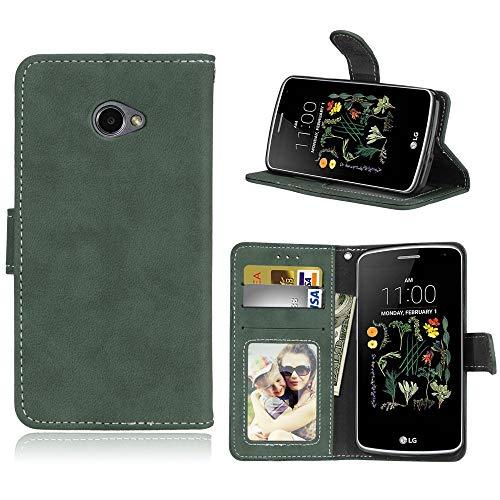 Sangrl Lederhülle Schutzhülle Für LG K5, PU-Leder Klassisches Design Wallet Handyhülle, Mit Halterungsfunktion Kartenfächer Flip Hülle Grün