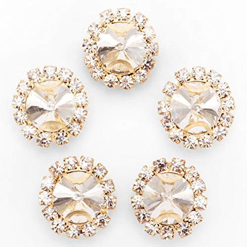 Premium Crystal Rhinestones Sew on, 50Pcs Bright Flatback Beads Buttons with Diamond, DIY Craft Perfect for Clothes Garment, Clothing, Bags, Shoes, Dress, Wedding Party Decoration (Clear)