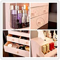 haoyu化粧品収納ボックス二重透明スライドドアマルチ引き出し化粧品収納ボックス大容量化粧品収納ボックス-ピンク_