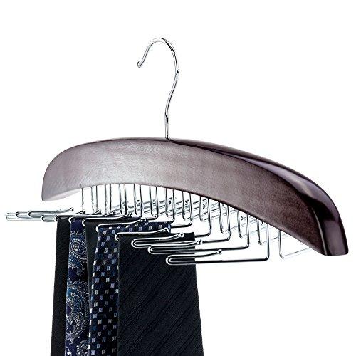 HANGERWORLD Premium Mahagoni Holz Schalbügel 10 Schals Kleiderbügel Glatte Oberfläche