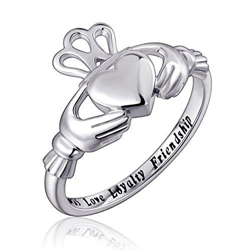 S925 Sterling Silver Love Loyalty Friendship Irish Ladies' Claddagh Ring (Sterling-Silver, 9)