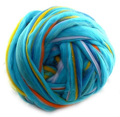 World of Wool Multicolor Merino-Kammzug Heuler (100g/100% Wolle/Farbe:Blau,Orange)