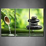 3 Panel Wall Art Green Spa Still Life with Bamboo Fountain and Zen Stone Painting Pictures Print On Canvas Botanical The Picture for Home Modern Decoration Stretched by Wooden Frame,Ready to Hang