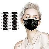 12 Unidades Protección de Adultos Tela Mujer Negras Diseño de Taladro los filtros se Pueden liberar,Impresión de Papá Noel