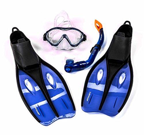 Dunlop Kinder Schnorchelset mit Tauchmaske, Schnorchel und Flossen, Größe S oder XS, lieferbar in den Farben Blau, Grün, oder Orange (XS (32-34), Blau)