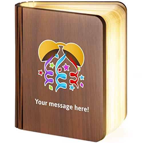 Personalisierbare Leselampe aus Holz, faltbar, magnetisch, mit Emoji-Konfetti-Ball, S