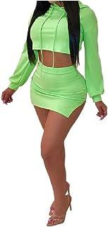 VITryst 女性の2ピースフードロングスリーブセクシーロングスリーブスカートセット