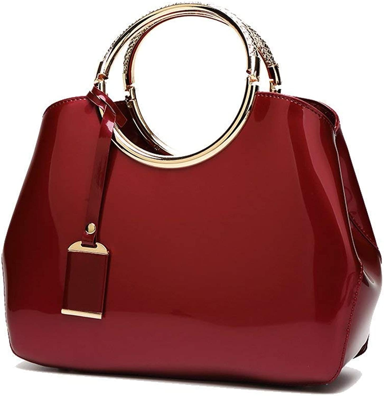 Evening Bag Womens Handbags Ladies Top Handle Bags Career OL Stylish Tote Bag Fashion Patent Leather Messenger Bag Shoulder Bag Purse,Redwine Party Handbag