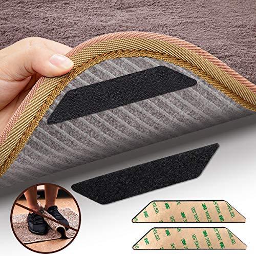 DUOUPA Antirutschmatte für Teppich,16 Stück Anti Rutsch Teppichunterlage aus 3M Antirutschmatte für Teppich Washable Wiederverwendbar Teppich Aufkleber Starke Klebrigkeit(Klettverschluss)