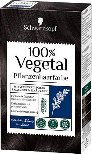 SCHWARZKOPF 100% VEGETAL Coloration, Haarfarbe Natürliches Schwarz Stufe 3, 3er Pack (3 x 80 ml)