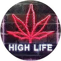 High Life Marijuana Bedroom Décor Bar Dual Color LED看板 ネオンプレート サイン 標識 白色 + 赤色 400 x 600mm st6s46-e0006-wr