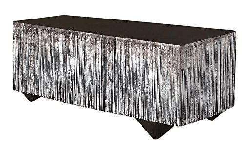 "Forum Novelties 76193 Tinsel Fringe Table Skirt, 144"" x 29"", Silver"