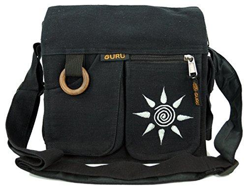 GURU SHOP Schultertasche, Hippie Tasche Sonne - Schwarz, Herren/Damen, Baumwolle, Size:One Size, 25x25x7 cm, Alternative Umhängetasche, Handtasche aus Stoff