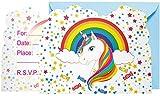 CaLeQi Invitaciones de Fiesta de Unicornio Tarjetas de invitación de Fiesta de cumpleaños de Unicornio Rainbow y Star para niños (Paquete 18)